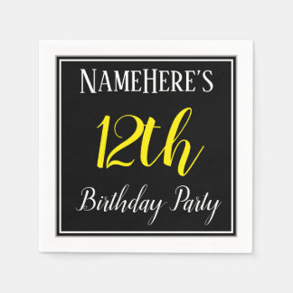 Simple, 12th Birthday Party w/ Custom Name Disposable Napkin