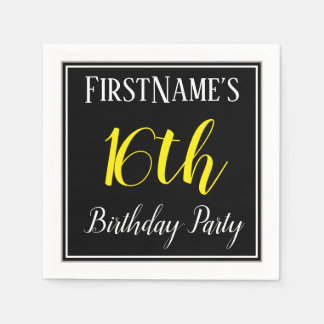 Simple, 16th Birthday Party w/ Custom Name Disposable Napkins