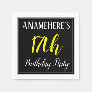 Simple, 17th Birthday Party w/ Custom Name Paper Napkins