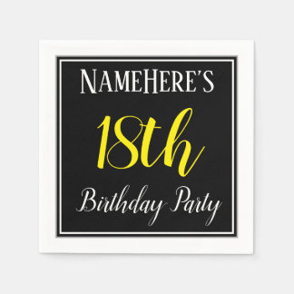 Simple, 18th Birthday Party w/ Custom Name Disposable Serviettes