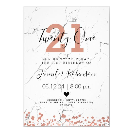 Simple 21st Birthday Party Rose Gold Marble Invitation