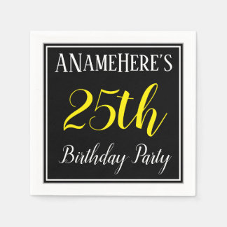 Simple, 25th Birthday Party w/ Custom Name Disposable Serviette