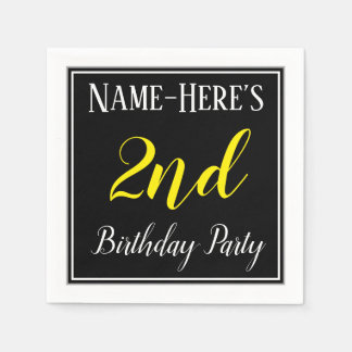 Simple, 2nd Birthday Party w/ Custom Name Paper Napkins