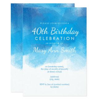 Simple 40th Birthday Party Blue Watercolor 11 Cm X 16 Cm Invitation Card