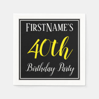 Simple, 40th Birthday Party w/ Custom Name Paper Napkins