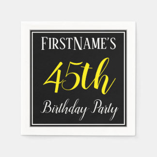 Simple, 45th Birthday Party w/ Custom Name Disposable Napkin