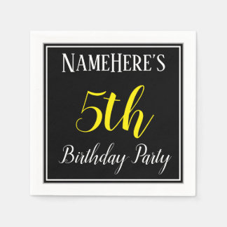 Simple, 5th Birthday Party w/ Custom Name Disposable Serviette