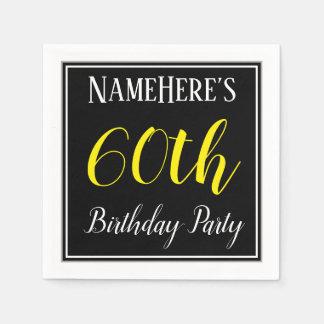Simple, 60th Birthday Party w/ Custom Name Paper Napkin