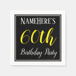 Simple, 60th Birthday Party w/ Custom Name Paper Serviettes