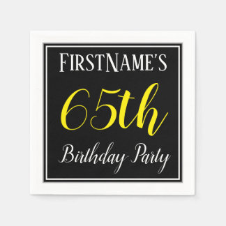 Simple, 65th Birthday Party w/ Custom Name Disposable Serviettes
