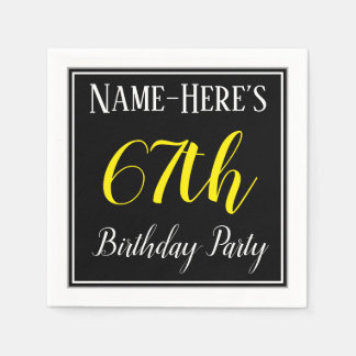 Simple, 67th Birthday Party w/ Custom Name Paper Serviettes