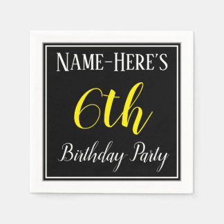Simple, 6th Birthday Party w/ Custom Name Disposable Serviettes