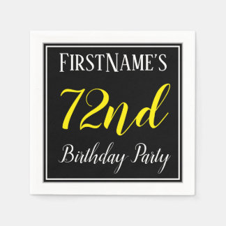 Simple, 72nd Birthday Party w/ Custom Name Paper Napkins