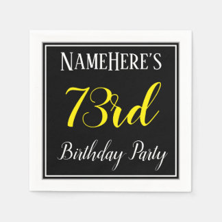 Simple, 73rd Birthday Party w/ Custom Name Disposable Napkin