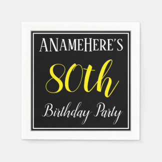 Simple, 80th Birthday Party w/ Custom Name Disposable Serviette
