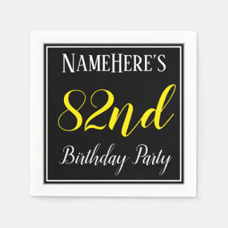 Simple, 82nd Birthday Party w/ Custom Name Paper Serviettes
