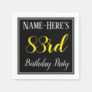 Simple, 83rd Birthday Party w/ Custom Name Disposable Serviette