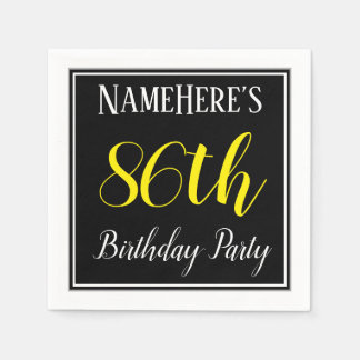 Simple, 86th Birthday Party w/ Custom Name Paper Napkins