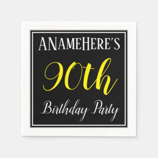 Simple, 90th Birthday Party w/ Custom Name Paper Napkin