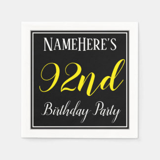 Simple, 92nd Birthday Party w/ Custom Name Paper Serviettes