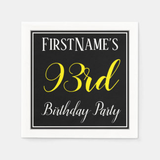 Simple, 93rd Birthday Party w/ Custom Name Disposable Napkin