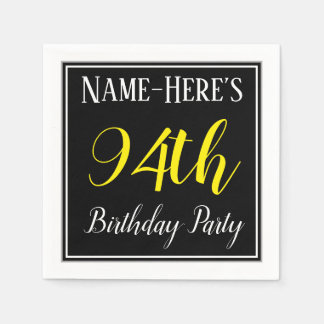 Simple, 94th Birthday Party w/ Custom Name Disposable Napkins