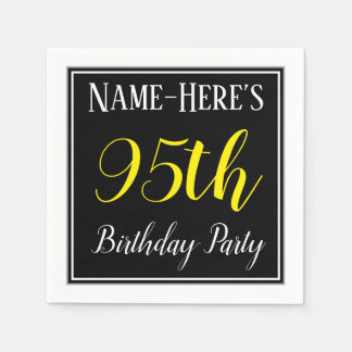 Simple, 95th Birthday Party w/ Custom Name Disposable Napkins