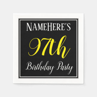 Simple, 97th Birthday Party w/ Custom Name Disposable Serviette