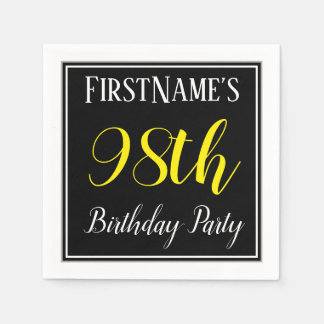 Simple, 98th Birthday Party w/ Custom Name Paper Serviettes