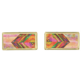 Simple amazing Water Colors Gold Finish Cuff Links