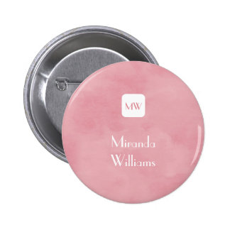 Simple and Chic Blush Pink Monogram With Name 6 Cm Round Badge