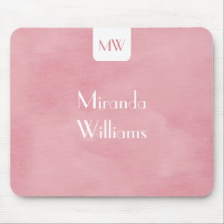 Simple and Chic Blush Pink Monogram With Name Mouse Pad