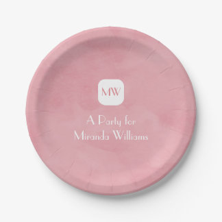 Simple and Chic Blush Pink Monogram With Name Paper Plate