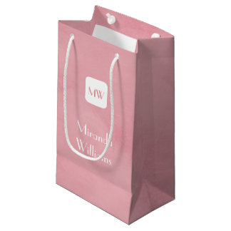 Simple and Chic Blush Pink Monogram With Name Small Gift Bag