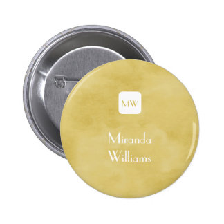 Simple and Chic Goldenrod Yellow Monogram and Name 6 Cm Round Badge