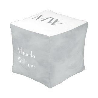 Simple and Chic Grey Gray Monogram With Name Pouf