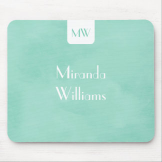 Simple and Chic Mint Green Monogram With Name Mouse Pad