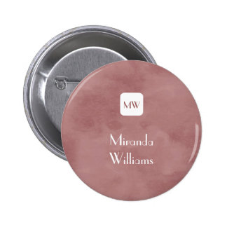 Simple and Chic Rosy Brown Monogram With Name 6 Cm Round Badge