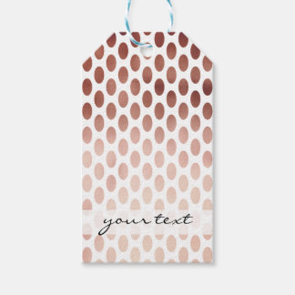 simple and clear faux rose gold polka dots pattern gift tags