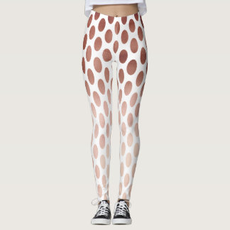 simple and clear faux rose gold polka dots pattern leggings
