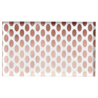 simple and clear faux rose gold polka dots pattern table number holder