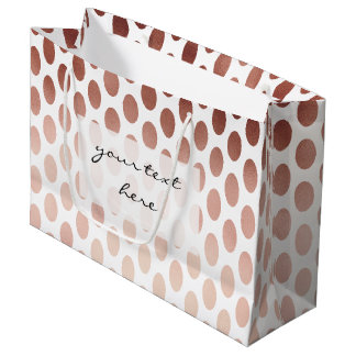 simple and clear rose gold polka dots pattern large gift bag