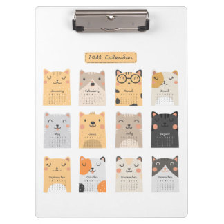 Simple and Cute Cats 2018 Calendar | Clipboard
