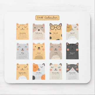 Simple and Cute Cats 2018 Calendar | Mousepad