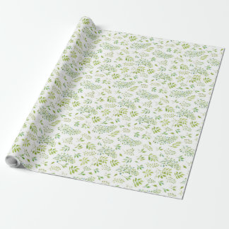 Simple and cute green leaves watercolor pattern wrapping paper