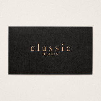 Simple and Elegant Beauty Black Linen Look Business Card