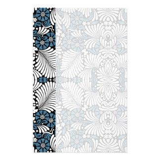 Simple and Elegant Blue and White Fern Print Personalized Stationery