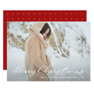 Simple and Elegant Christmas Dots Add Photo Card