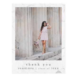 Simple and Elegant Graduation Photo Thank You Postcard