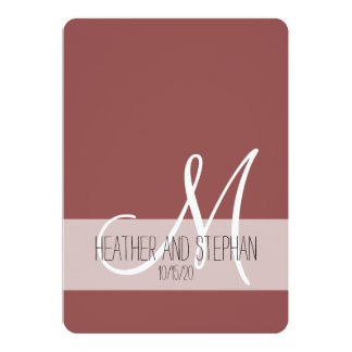 Simple and Elegant Marsala Red White Monogram Card